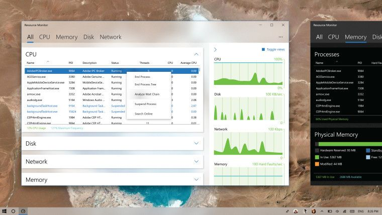 User concept shows what a Fluent Design-inspired Windows Resource Monitor could look like