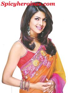 Bollywood Actress Stunning Priyanka Chopra in Pink saree cute smiling
