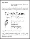 Elfriede Rochna : Traueranzeige  SHZ Trauer  SHZ
