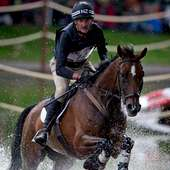 New Zealander Mark Todd, Riding Campino, Comes Through The Water Jump