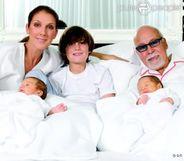 C�line Dion, Ren� Ang�lil et leurs enfants, sur leur carte de voeux