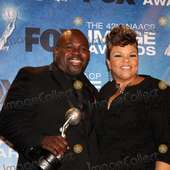 LOS ANGELES - 4: David Mann, .Tamela J. Mann In The Press Room Of The 45