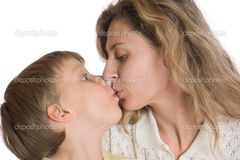 Mother and son kiss — Stock Photo © CherryMerry #1012928