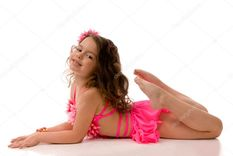Beautiful little girl in pink swim suit � Stock Photo � Sergii
