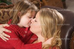 Mother and Daughter Share a Kiss — Stock Image © Andy Dean #2347784