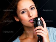 Young female star singer holding old fashioned microphone lesbian porn