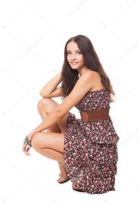 Lovely bright young woman squatting — Stock Photo © SergeBlack