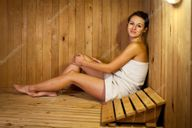 Young Man Relaxing In A Russian Wooden Sauna Royalty Free Stock Images