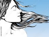 Vector: A woman's face with hair streaming in the wind