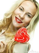 Pretty Young Woman Holding Lolly Pop  Royalty Free Stock Image  Image