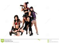 Drunk and disorderly group of burlesque dolls dancers drinking and