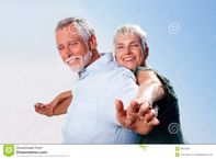 Portrait of happy old couple enjoying themselves together, outdoors