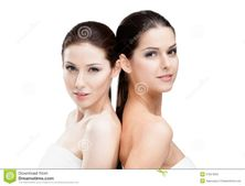 Half length portrait of two half naked women who are ready for beauty