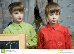 Twins Brother At Blackboard Stock Photos  Image: 11303903