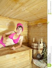 Young Girl Enjoying Sauna Stock Photo  Image: 32099880