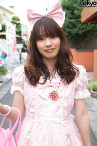 Japanese Sweet Lolita Girls' Pink & Blue Fashion in Harajuku Pink
