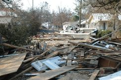 Description Damage and destruction to houses in Biloxi, Mississippi by