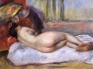 Sleeping Nude with Hat (Repose)  PierreAuguste Renoir