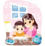 vector of happy mother helping son with school work by bnp design