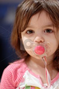 Download Cute Young Girl with Pacifier stock photo, Cute young girl