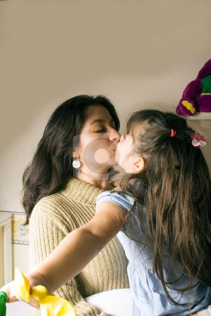 Mother Daugther Kiss