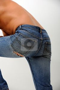 man ass in blue jeans