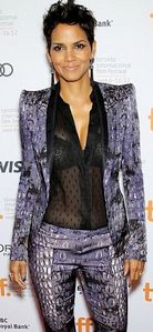 Halle Berry in see thru blouse showing black bra