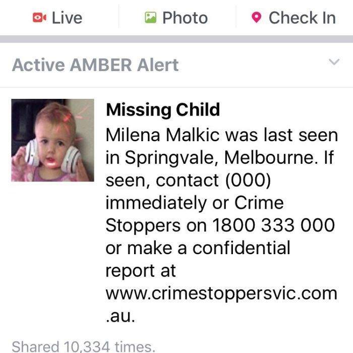 Victoria Police launch first Facebook alert for toddler Milena Malkic, last seen in Springvale - ABC Online