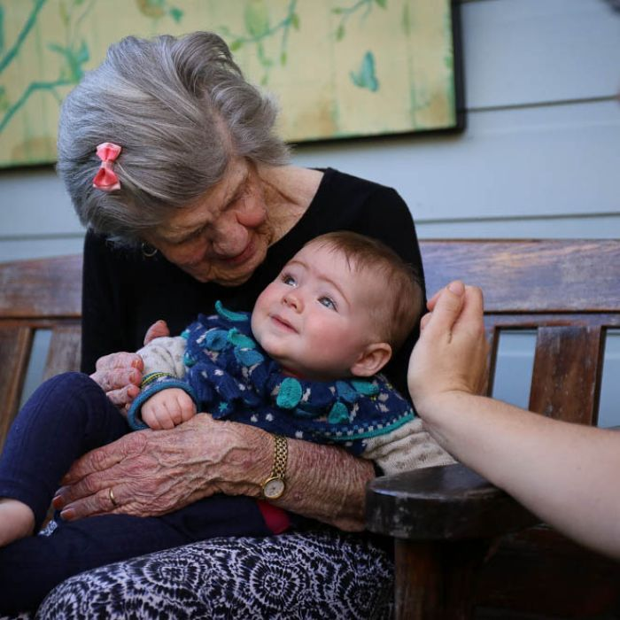 Baby brings memory and speech back to aged care resident with dementia