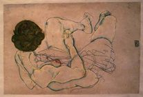 Woman with Spread Legs  Egon Schiele as art print or hand painted oil