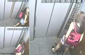 Caught on camera: Woman peeing inside lift