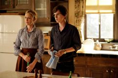 Actors Vera Farmiga and Freddie Highmore as Norma and Norman Bates in