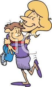Royalty Free Clip Art Image: Cartoon of a Mom Hugging Her Little Boy