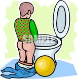 Free Clipart Image: Cartoon of a Young Boy Learning to Use the Toilet