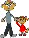 Dada And Daughter image  vector clip art online, royalty free