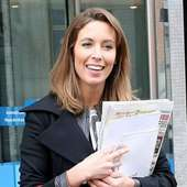 Emma Crosby Outside The ITV Studios Carrying A Red Handbag London