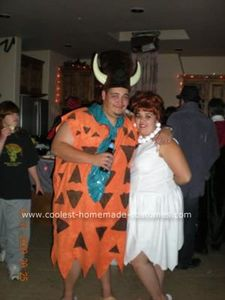 Coolest Homemade Fred and Wilma Flintstone Couple Costume 25
