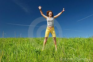 Girl Jumping And Stretching Hands Stock Images - Image: 9698814