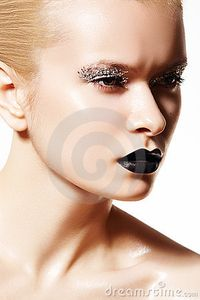 Free Stock Photography: High fashion model  Silver make-up, black lips