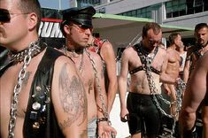 Slaves await auctioning at Folsom Street Fair, c  1995