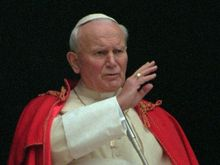 Pope John Paul II blesses faithful in St  Peter's Square in 1995
