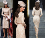Kate in McQueen 1024x865 Kate Middleton Wears Nude Lace Alexander