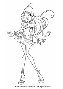 Flora wearing a strawberry skirt coloring page - FLORA coloring pages