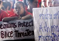 Cambodian sex workers stage a protest against a police crackdown on