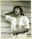 Title Outdoor model unbuttoned blouse no bra 8x10 50s