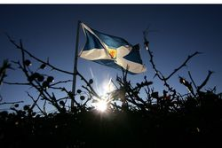 future's bright, the future's Holyrood: The Scottish flag flying high