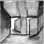 Räume 8; rätselhafte Räume | Pizzakartonmalerei Helen Königs