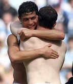 Wayne Rooney and Cristiano Ronaldo naked and shirtless hug