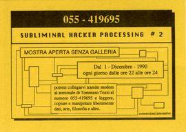 Tommaso Tozzi, pubblicit� di Hacker Art BBS che prima di partire