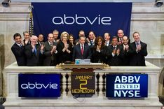 Richard Gonzalez, CEO of AbbVie Inc , rings the opening bell Wednesday